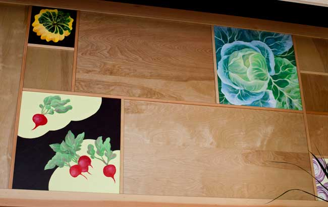 The art panels above Japhy's Dining Area